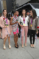 NEW YORK,NY - August 14, 2012: McKayla Maroney, Gabby Douglas, Kyla Ross, and Jordyn Weiber of the U.S. Women's Gymnastics Olympic Gold Medal Team at Late Show With David Letterman in New York City. &copy; RW/MediaPunch Inc. /NortePhoto.com<br />