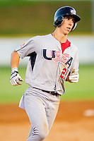 Michael Lorenzen #21 (Cal State Fullerton) of the USA Baseball Collegiate National Team rounds the bases after hitting a 3-run home run in the top of the fourth inning against the Gastonia Grizzlies at Sims Legion Park on June 30, 2011 in Gastonia, North Carolina.  Team USA defeated the Grizzlies 12-5.  Brian Westerholt / Four Seam Images