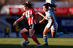 Veatriki Sarri of Sheffield United takes the ball away from Asmita Ale of Aston Villa during the The FA Women's Championship match at the Proact Stadium, Chesterfield. Picture date: 12th January 2020. Picture credit should read: James Wilson/Sportimage
