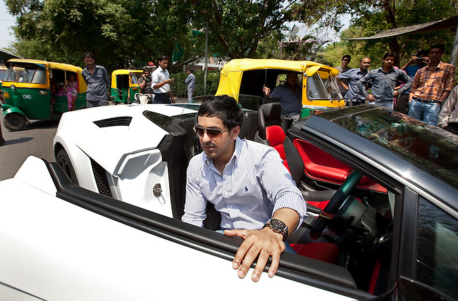 14 April 2011 NEW DELHI, INDIA:  28 year old Prateek Madaan in his Lamborghini Gallardo driving the streets of Delhi, India. There has been a recent increase in the luxury car market in India driven by the economic boom. Wealthy members of Indian society have taken advantage of recent entrants to the local car market including Bentley, Audi and Rolls Royce. Pic Graham Crouch/The Australian