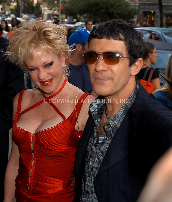 "Melanie Griffith and Antonio Banderas at the New York Premiere of ""Once Upon A Time In Mexico."" New York, September 7, 2003.  Please byline: NY Photo Press.   ..*PAY-PER-USE*      ....NY Photo Press:  ..phone (646) 267-6913;   ..e-mail: info@nyphotopress.com"