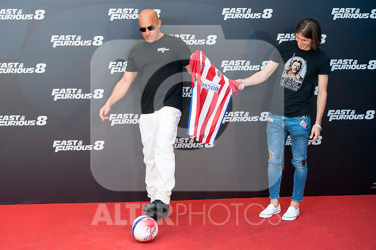 American actor Vin Diesel with Atletico de Madrid's player Filipe Luis (R) during the presentation of the film &quot;Fast &amp; Furious 8&quot; at Hotel Villa Magna in Madrid, April 06, 2017. Spain.<br /> (ALTERPHOTOS/BorjaB.Hojas)