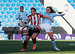 Maddy Cusack of Sheffield Utd tackled by Marisa Ewers of Aston Villa during the The FA Women's Championship match at the Proact Stadium, Chesterfield. Picture date: 12th January 2020. Picture credit should read: Simon Bellis/Sportimage