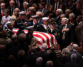 December 5, 2018 - Washington, DC, United States: The casket of President  George H. W. Bush arrives at his state funeral service at the National Cathedral. <br /> Credit: Chris Kleponis / Pool via CNP