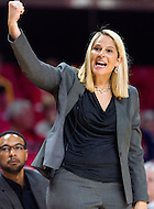 College Park, MD - DEC 6, 2016: Maryland Terrapins head coach Brenda Frese yells out a play from the sideline during game between Towson and Maryland at XFINITY Center in College Park, MD. The Terps defeated the Tigers 97-63. (Photo by Phil Peters/Media Images International)