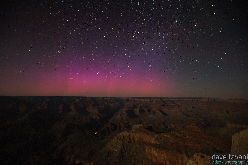 Strange light appears over the Grand Canyon on June 22, 2015, as seen from Mather Point Overlook. Is it the Aurora Borealis or light pollution? The Washington Post reported that the Aurora was seen as far south as Texas on June 22.