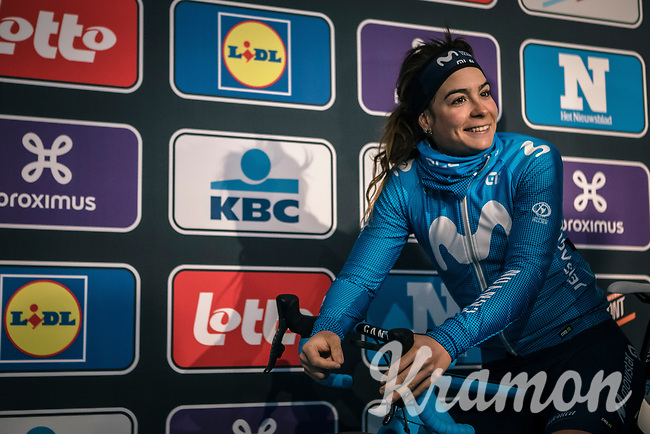 Sheyla Guitierrez (ESP/Movistar) pre race<br /> <br /> <br /> 75th Omloop Het Nieuwsblad 2020 (BEL)<br /> Women's Elite Race <br /> Gent – Ninove: 123km<br /> <br /> ©kramon