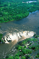 Brazil, aerial view of Santo Antonio waterfall in rainforest on Jari River coming down from Guyana Highlands, separating Para and Amapa State