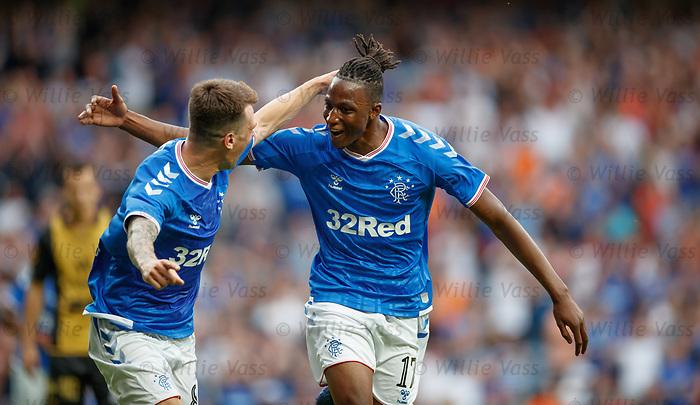 25.07.2019 Rangers v Progres Niederkorn: Joe Aribo celebrates his goal with Ryan Jack