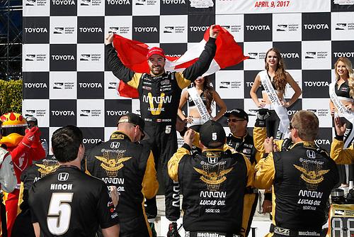 2017 Verizon IndyCar Series<br /> Toyota Grand Prix of Long Beach<br /> Streets of Long Beach, CA USA<br /> Sunday 9 April 2017<br /> James Hinchcliffe, podium<br /> World Copyright: Michael L. Levitt<br /> LAT Images