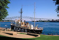Great Lakes nautical museum on St. Clair River near the Blue Water Bridge to Sarnia, Canada, museums, ships. Port Huron Michigan USA.