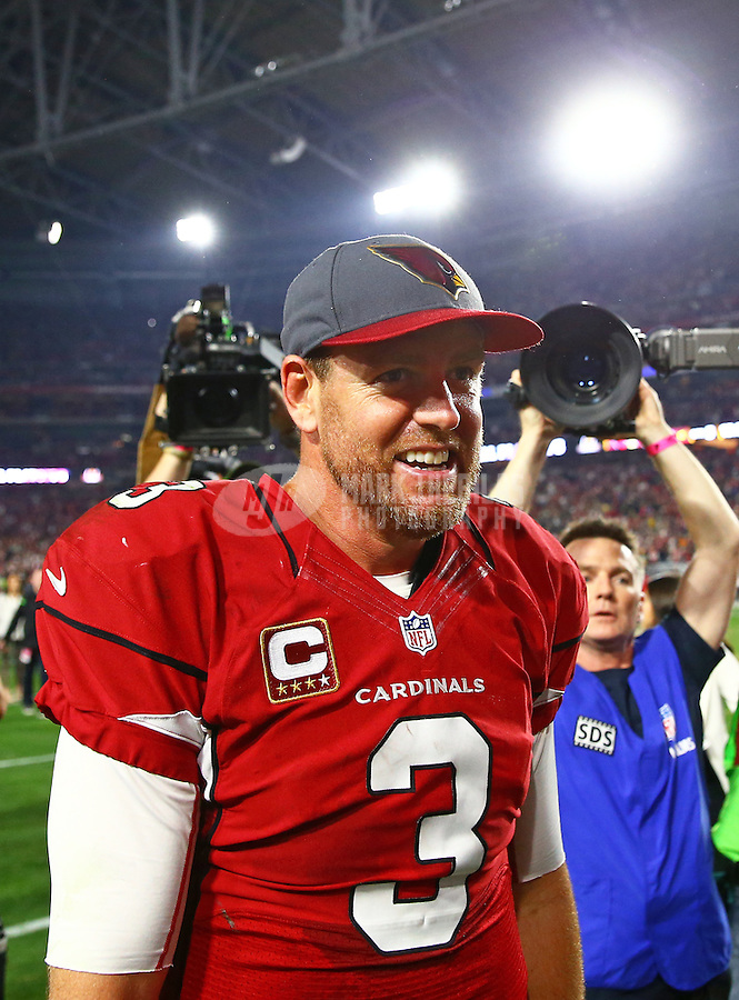 Jan 16, 2016; Glendale, AZ, USA; Arizona Cardinals quarterback Carson Palmer (3) against the Green Bay Packers during an NFC Divisional round playoff game at University of Phoenix Stadium. Mandatory Credit: Mark J. Rebilas-USA TODAY Sports