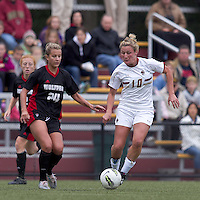 Boston College forward/midfielder Gibby Wagner (10) dribbles as NC State defender Shelli Spamer (24) defends. Boston College defeated North Carolina State,1-0, on Newton Campus Field, on October 23, 2011.
