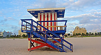 A patriotic lifeguard stand on South Beach, Miami Beach, FL, November 22, 2010.  (Photo by Brian Cleary/www.bcpix.com)