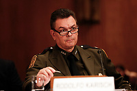 Rodolfo Karisch, Rio Grande Valley Sector Chief Patrol Agent, US Border Patrol, US Customs and Border Protection, U.S. Department of Homeland Security, testifies before the US Senate Committee on Homeland Security and Government Affairs on April 9, 2019, discussing migration at the United States' Southern Border.<br /> Credit: Stefani Reynolds / CNP/AdMedia