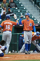 Durham Bulls designated hitter Richie Shaffer (9) congratulates J.P. Arencibia (16) after hitting a home run during a game against the Buffalo Bisons on June 13, 2016 at Coca-Cola Field in Buffalo, New York.  Durham defeated Buffalo 5-0.  (Mike Janes/Four Seam Images)