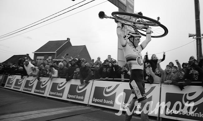 race winner: Sven Nys (BEL) & his new ride across the finishline<br /> <br /> GP Sven Nys 2014