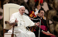 Papa Francesco tiene un'udienza speciale per i membri della Conferenza Episcopale italiana, CEI, in Aula Paolo Vi. Citt&agrave; del Vaticano, 5 gennaio 2017.<br /> Pope Francis delivers his speech during a special audience with members of the Italian Episcopal Conference, CEI, in Paul VI Hall at the Vatican, on January 5, 2017.<br /> UPDATE IMAGES PRESS/Isabella Bonotto<br /> <br /> STRICTLY ONLY FOR EDITORIAL USE