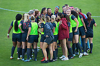 STANFORD, CA - August 10, 2018: Team at Laird Q. Cagan Stadium. The Stanford Cardinal defeated the Fresno State Bulldogs 4-0.