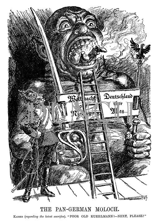 "The Pan-German Moloch. Kaiser (regarding the latest sacrifice). ""Poor old Kuehlmann! - next, please!"""