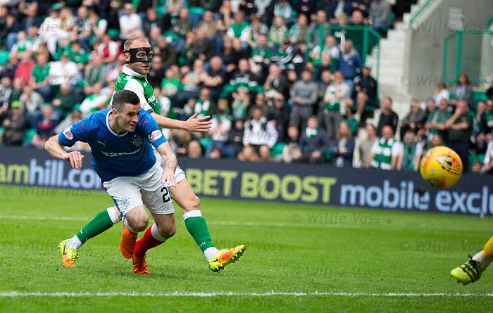 13.05.2018 Hibs v Rangers: Jamie Murphy misses a header