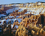 Bryce Canyon National Park, UT: Fresh snow covering the hoodos and ridges of the Silent City in Bryce Creek Canyon