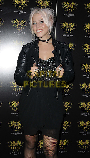 Amelia Lily<br /> The Lipsy VIP Fashion Awards 2013, DSTRKT, Rupert St., London, England.<br /> May 29th, 2013<br /> half length black leather jacket top dress  <br /> CAP/CAN<br /> &copy;Can Nguyen/Capital Pictures