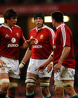 2005 British & Irish Lions vs Argentina, at The Millennium Stadium, Cardiff, WALES. played on  23.05.2005, Ben Kay [centre] discussing line out tactics, with left Donncha O'Callaghan and right Martin Corry..Photo  Peter Spurrier. .email images@intersport-images...