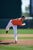 Baltimore Orioles relief pitcher Hunter Harvey (72) delivers a pitch during a Spring Training game against the Minnesota Twins on March 7, 2016 at Ed Smith Stadium in Sarasota, Florida.  Minnesota defeated Baltimore 3-0.  (Mike Janes/Four Seam Images)