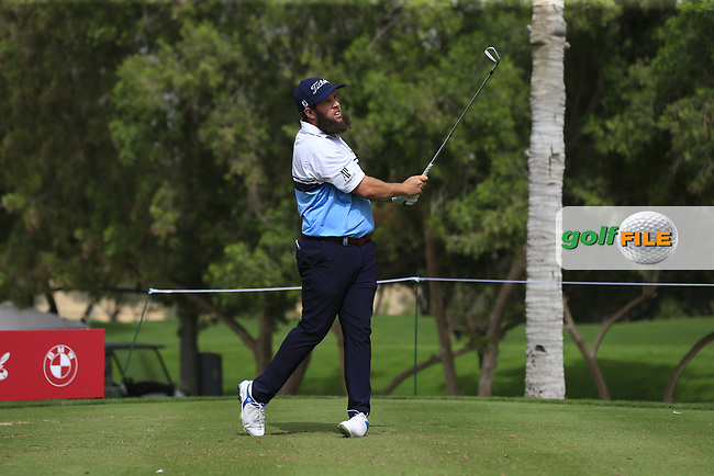 Andrew Johnston (ENG) on the 4th tee during Round 1 of the Omega Dubai Desert Classic, Emirates Golf Club, Dubai,  United Arab Emirates. 24/01/2019<br /> Picture: Golffile | Thos Caffrey<br /> <br /> <br /> All photo usage must carry mandatory copyright credit (© Golffile | Thos Caffrey)