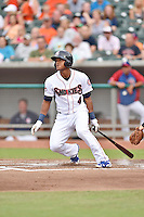Tennessee Smokies shortstop Addison Russell #4 swings at a pitch during a game against the Mississippi Braves at Smokies Park on July 21, 2014 in Kodak, Tennessee. The Braves defeated the Smokies 4-3. (Tony Farlow/Four Seam Images)