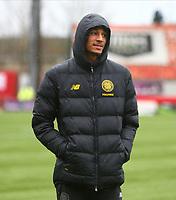 2nd February 2020; New Douglas Park, Hamilton, South Lanarkshire, Scotland; Scottish Premiership, Hamilton Academical versus Celtic; Christopher Jullien of Celtic wraps up before the match