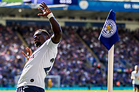 Serge Aurier of Spurs celebrates after scoring (later ruled out by VAR for offside against Heung-Min Son) during the Premier League match between Leicester City and Tottenham Hotspur at the King Power Stadium, Leicester, England on 21 September 2019. Photo by James  Gill / PRiME Media Images.
