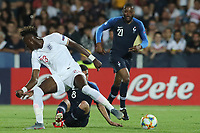 Tammy Abraham of England and Ibrahima Sissoko of France compete for the ball<br /> Cesena 18-06-2019 Stadio Dino Manuzzi <br /> Football UEFA Under 21 Championship Italy 2019<br /> Group Stage - Final Tournament Group C<br /> England - France<br /> Photo Cesare Purini / Insidefoto