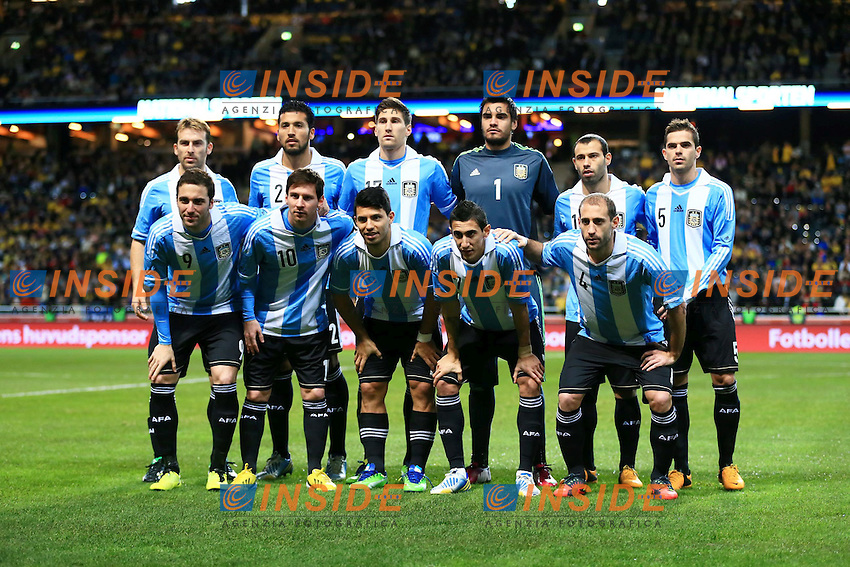 06.02.2013, Friends Arena, Stockholm, SWE, Testspiel, Schweden vs Argentinien, im Bild Teamfoto Argentinien // during the International Friendly Match between Sweden and Argentina at the Friends Arena, Stockholm, Sweden on 2013/02/06. EXPA Pictures © 2013, PhotoCredit: EXPA/ PicAgency Skycam/ Sami Grahn..***** ATTENTION - OUT OF SWE ***** .Stoccolma 6/2/2013 .Football Calcio 2012/2013 Amichevole.Svezia Vs Argentina.Foto Insidefoto .ITALY ONLY