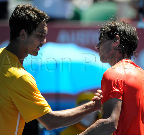 20.01.2011 Australian Open Tennis from Melbourne Park. Rafael Nadal of Spain is congratulated at the net after winning his match against Ryan Sweeting of the USA on day four of the 2011 Australian Open at Melbourne Park, Melbourne, Australia.