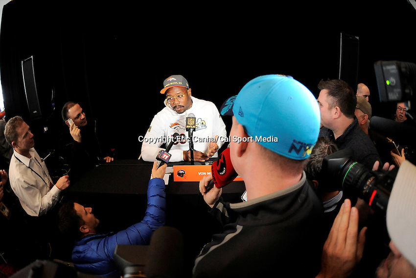 Tuesday, February 2, 2016: Denver Broncos outside linebacker Von Miller (58) talks to the media at the team's hotel in Santa Clara, California,  during a press conference for the National Football League Super Bowl 50 between the Denver Broncos and the Carolina Panthers. Eric Canha/CSM