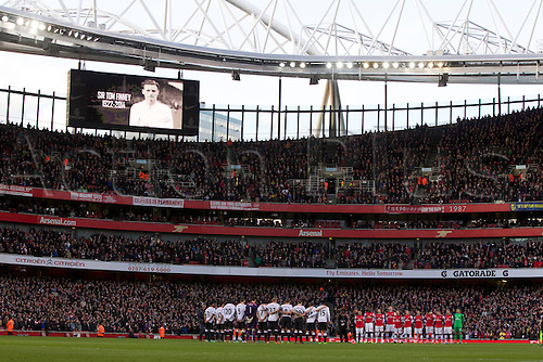 16.02.2014 London, England.  The players observe a minutes silence in memory of Sir Tom Finney before the FA Cup 5th Round game between Arsenal and Liverpool from the Emirates Stadium.