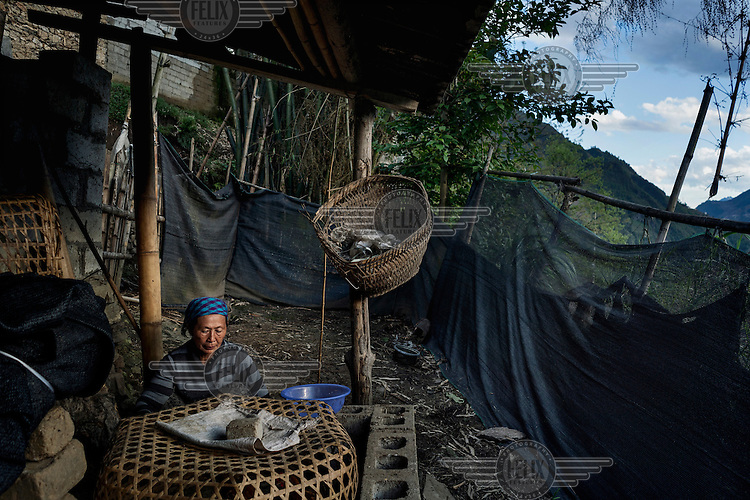 Naye Bu, 60, a Lisu villager feeds her chickens kept under the house built above the bank of the Nujiang River she has lived in with her husband for 30 years.