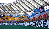 Calcio, Serie A: Lazio vs Roma. Roma, stadio Olimpico, 25 maggio 2015.<br /> Lazio fans wait for the start of the Italian Serie A football match between Lazio and Roma at Rome's Olympic stadium, 25 May 2015.<br /> UPDATE IMAGES PRESS/Isabella Bonotto