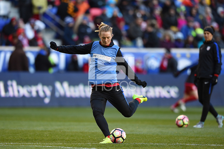 Harrison, NJ - Saturday, March 04, 2017: Samantha Mewis prior to a SheBelieves Cup match between the women's national teams of the United States (USA) and England (ENG) at Red Bull Arena.
