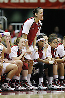 SAN ANTONIO, TX - APRIL 4: Michelle Harrison of the Stanford Cardinal during Stanford's 73-66 win over Oklahoma in the Final Four semi-finals at the Alamo Dome on April 4, 2010 in San Antonio, Texas. Also pictured are Lindy La Rocque, Melanie Murphy and Grace Mashore.