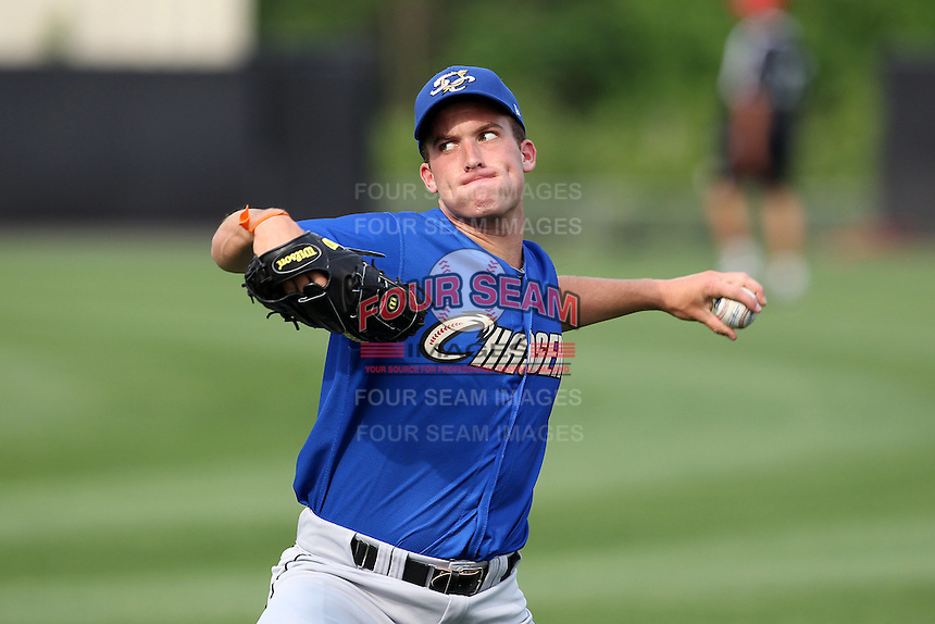 Omaha Storm Chasers pitcher Danny Duffy throws in the outfield during batting practice before a game against the Nashville Sounds at Greer Stadium on April 25, 2011 in Nashville, Tennessee.  Omaha defeated Nashville 2-1.  Photo By Mike Janes/Four Seam Images
