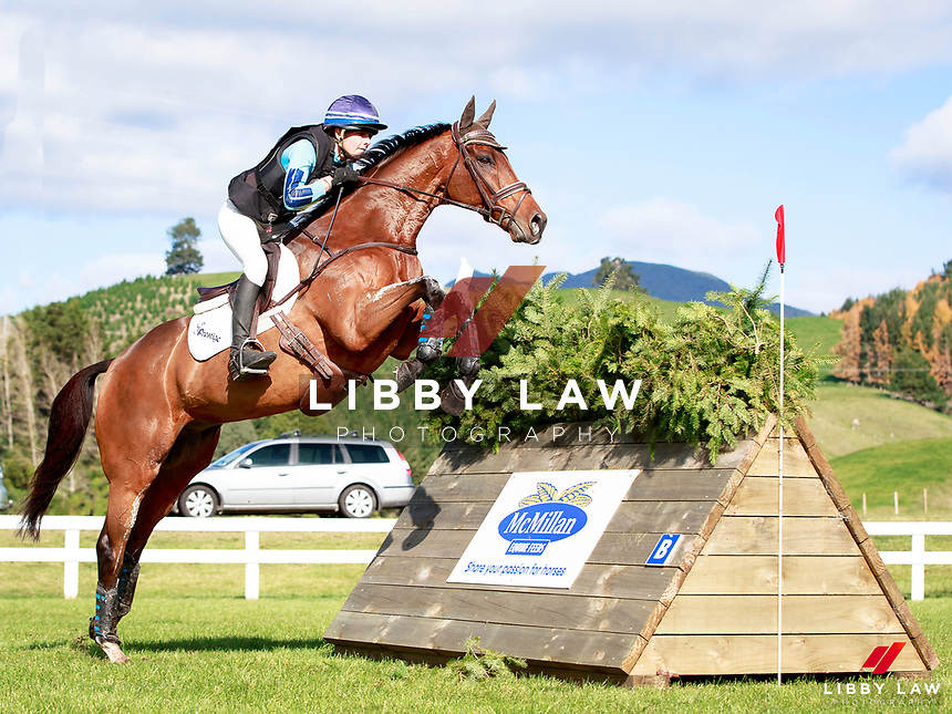 Amanda Pottinger rides Just Kidding to keep the lead during the NRM CCI3* Championship Cross Country at the 2017 NZL-NRM National Three Day Event Championships. National Equestrian Center, Taupo. Saturday 13 May. Copyright Photo: Libby Law Photography