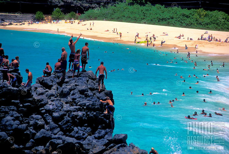 Sunny summer day at Waimea bay on Oahu's north shore