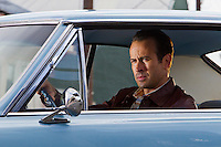 Actor Jason Lee as Dwight Hendricks in a 1964 Pontiac GTO on set filming a TNT 'Memphis Beat' promo for Season 2 in New Orleans, LA.