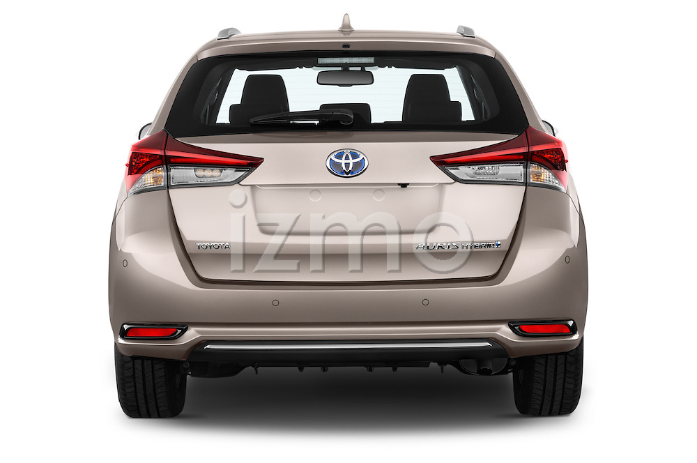 Straight rear view of 2015 Toyota Auris Touring Sports Business Plus 5 Door Wagon Stock Photo