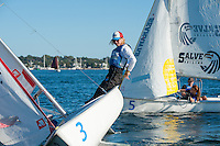 Sean Beaulieu,'18, tacks as he practices with other members of the Salve Regina Sailing Team in the Newport Harbor.