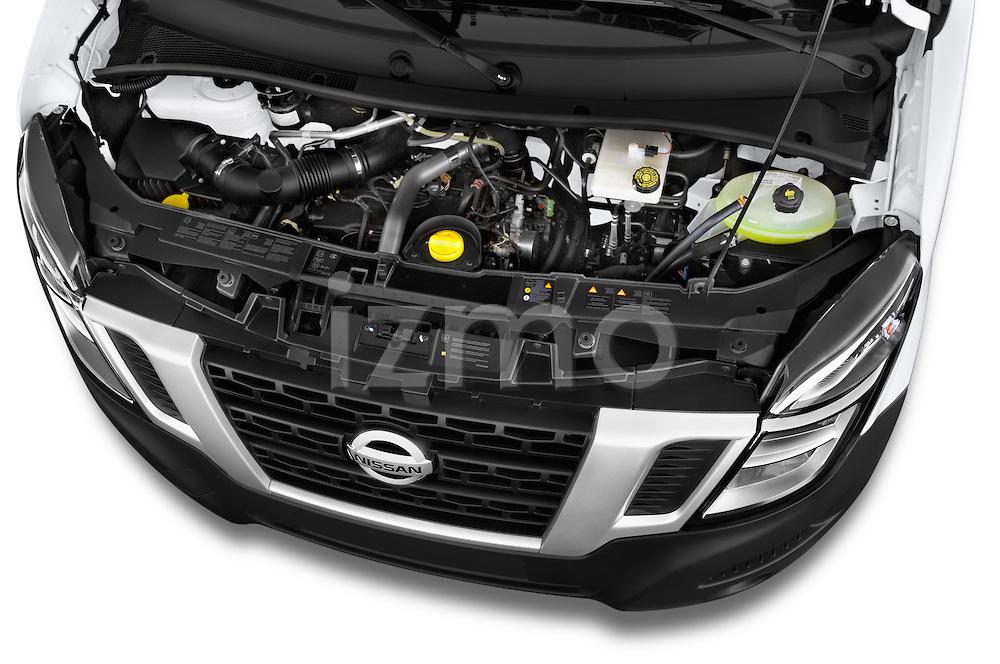 Car Stock2015 Nissan NV 400 Business 4 Door Cargo Van Engine high angle detail view