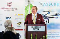 Celebration: MSU selected by FFA to lead National Center of Excellence for Unmanned Aircraft Systems - President Keenum speaking<br />  (photo by Megan Bean / &copy; Mississippi State University)